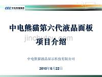 中电熊猫第六代液晶面板项目介绍