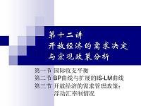 宏观经济学 第12讲 开放经济的需求决定与宏观政策分析